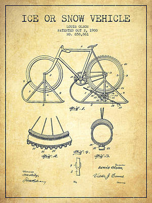 Transportation Digital Art - Ice or snow Vehicle Patent Drawing from 1900 - Vintage by Aged Pixel
