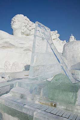 Ice Festival Photograph - Ice Piano By Frozen Sun Island Lake by Panoramic Images