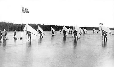 Sail Racing Photograph - Ice Sail Race In Sweden by Underwood Archives