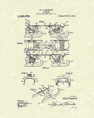 Skate Drawing - Ice Skate 1915 Patent Art by Prior Art Design