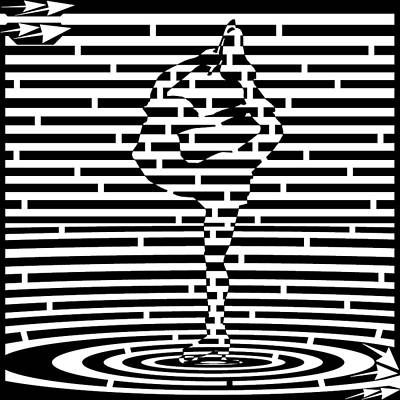 Sports Maze Drawing - Ice Skate Fast Spin Maze  by Yonatan Frimer Maze Artist