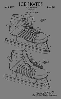 Winter Sports Mixed Media - Ice Skate Patent by Dan Sproul