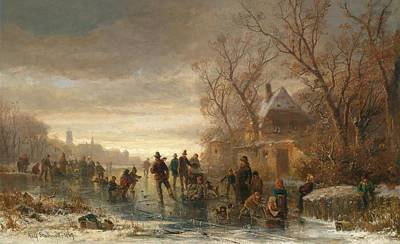 Adolf Painting - Ice Skaters In The Evening Light by Celestial Images
