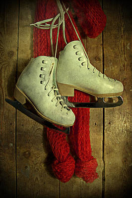 Photograph - Ice Skates And Red Scarf by Ethiriel  Photography