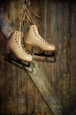 Photograph - Ice Skates Hanging On Old Barn by Ethiriel  Photography