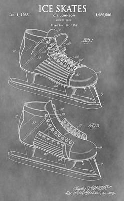 Winter Sports Mixed Media - Ice Skates Patent by Dan Sproul