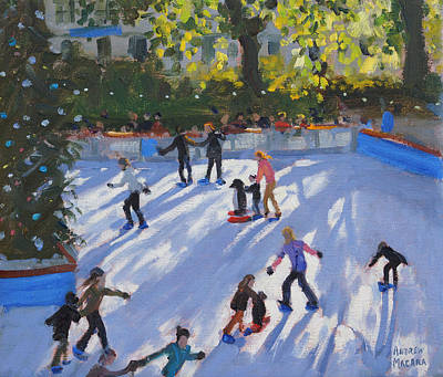 Ice Skating Art Print by Andrew Macara
