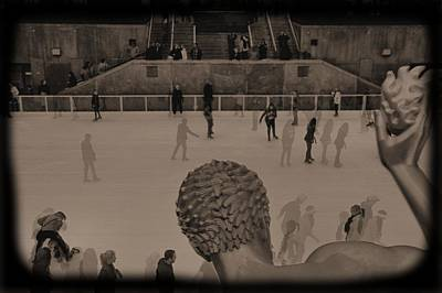 Tourism Digital Art - Ice Skating At Rockefeller Center In The Early Days by Dan Sproul