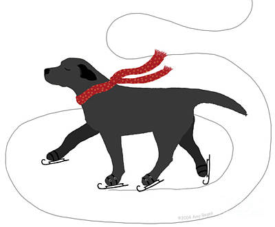 Digital Art - Ice Skating Black Labrador by Amy Reges