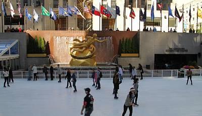 Ice Skating In Rockefeller Center Art Print by Dan Sproul