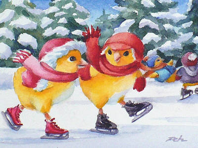 Painting - Ice Skating by Janet Zeh