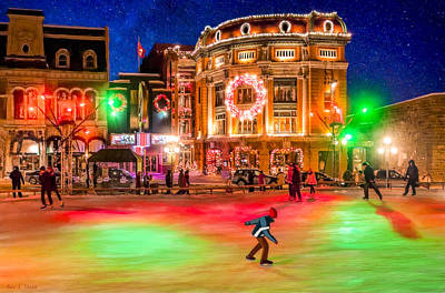 Winter Night Photograph - Ice Skating On A Beautiful Night In Quebec by Mark Tisdale