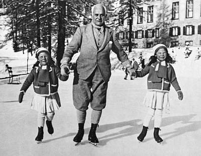 Photograph - Ice Skating With A Child On Each Hand by Underwood Archives