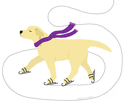 Digital Art - Ice Skating Yellow Labrador Dog by Amy Reges