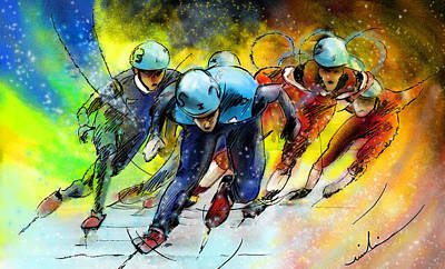 Sports Paintings - Ice Speed Skating 01 by Miki De Goodaboom