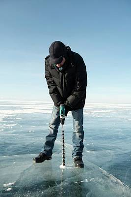 Siberia Photograph - Ice Thickness Measuring by Louise Murray