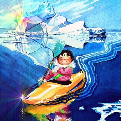 Kids Books Painting - Iceberg Kayaker by Hanne Lore Koehler