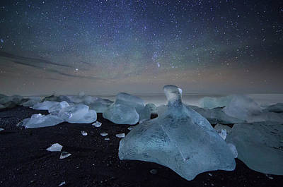 Iceberg On Black Sand Beach Art Print by Alex Saberi