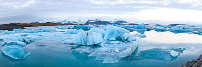 People On Ice Photograph - Icebergs Floating In Glacial Lake by Panoramic Images