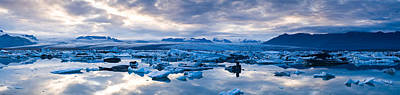Icebergs In A Glacial Lake, Jokulsarlon Art Print by Panoramic Images