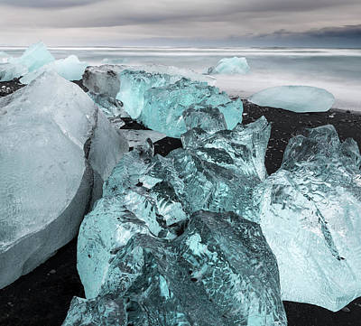 Large Format Photograph - Icebergs On Black Volcanic Beach by Martin Zwick