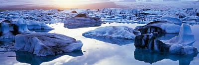 Icebergs On Jokulsarlon Lagoon Art Print by Panoramic Images