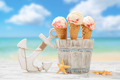 Blurred Background Photograph - Icecream At The Beach by Amanda Elwell