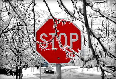 Stop Sign Photograph - Iced Stop Sign by Valentino Visentini