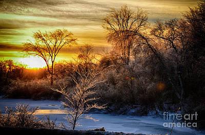 Iced Sunset Art Print by Wanda Clowater
