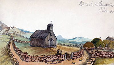 Fence Drawing - Iceland, 1862 by Granger