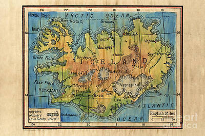 Iceland 1906 Hand Painted Map Original by Lisa Middleton