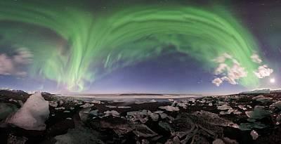 Iceland Aurora Beach Panorama Art Print by Mike Berenson