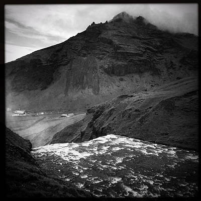 River Photograph - Iceland Black And White Square Format by Matthias Hauser