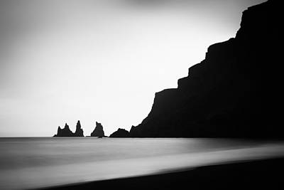 Photograph - Iceland Coast Reynisdrangar Minimalist Black And White Photo by Matthias Hauser