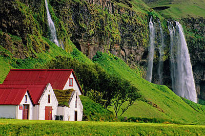 Iceland Farm Falls Art Print