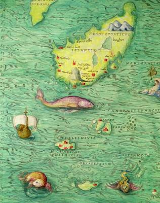 Green Monster Drawing - Iceland, From An Atlas Of The World In 33 Maps, Venice, 1st September 1553 by Battista Agnese