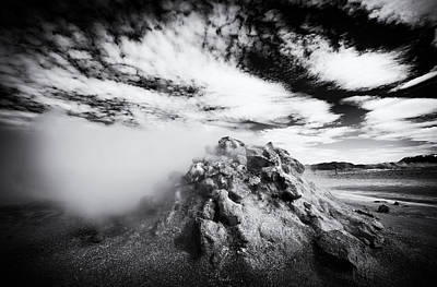 Iceland Geothermal Area Hverir Black And White Art Print by Matthias Hauser