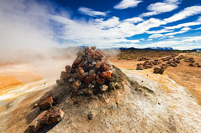 Iceland Geothermal Landscape Hverir Namaskard With Fumarole Art Print by Matthias Hauser