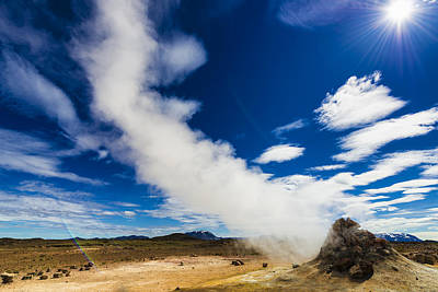 Iceland Hverir - Fumarole With Steam In Fascinating Landscape Art Print