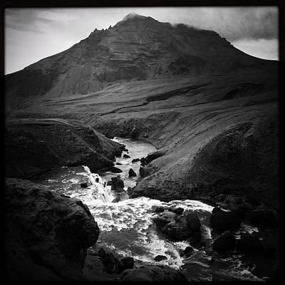 Mountain Photograph - Iceland Landscape With River And Mountain Black And White by Matthias Hauser