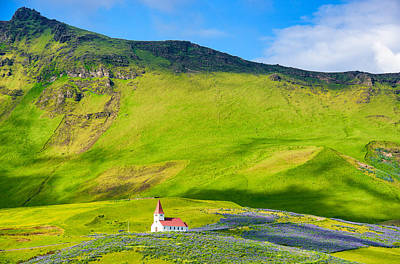 Photograph - Iceland Mountain Landscape With Church In Vik by Matthias Hauser