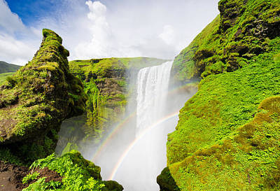 Tons Of Photograph - Iceland Skogafoss Waterfall With Rainbow by Matthias Hauser