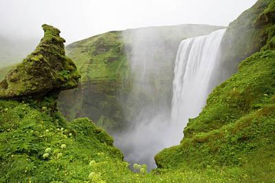Iceland Skogarfoss Waterfall Plunges Art Print by Jaynes Gallery
