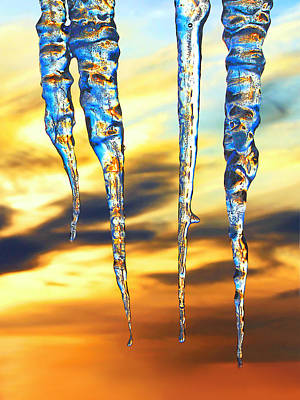 Photograph - Icicles At Sunrise by Carolyn Derstine