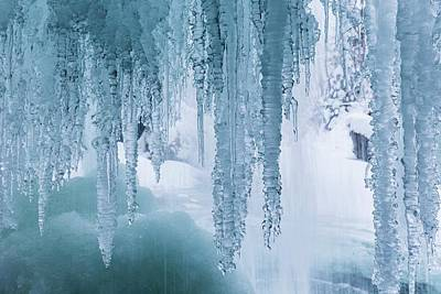 Icicles On Freezing Waterfall Art Print by Dr Juerg Alean