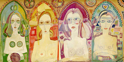 Nude Portraits Photograph - Icon, 1970 Printing Oils On Board by Laila Shawa