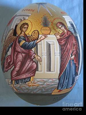 Icon Of Annunciation On Ostrich Egg Original