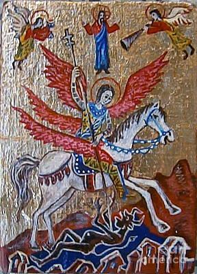Icon Of Archangel Michael Original by Milen Litchkov