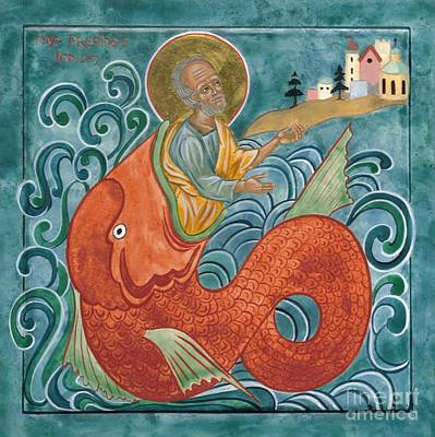 Icon Of Jonah And The Whale Art Print by Juliet Venter