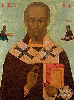 Old Books Painting - Icon Of St. Nicholas by Russian School